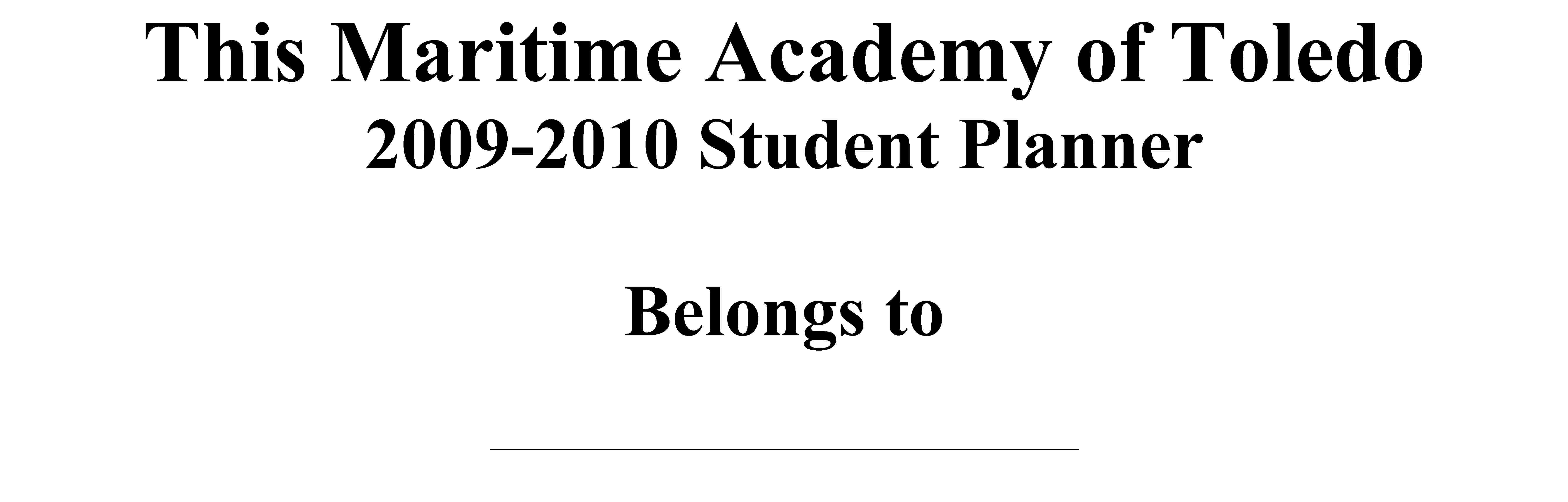 Student Handbook for the 2011-2012 School Year